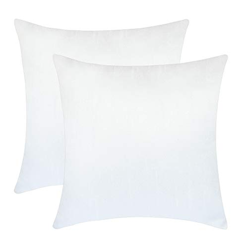 Set of 2 White Art Silk Pillow Covers, Plain Silk Cushion Cover, Solid Color White Throw Pillow, (14x14...