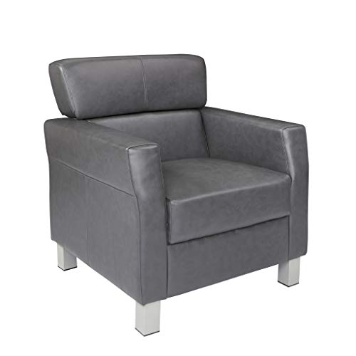Office Star Bonded Leather Club Chair with Silver Legs, Pewter