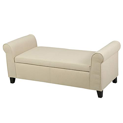 Christopher Knight Home Danbury Armed Fabric Storage Bench, Beige