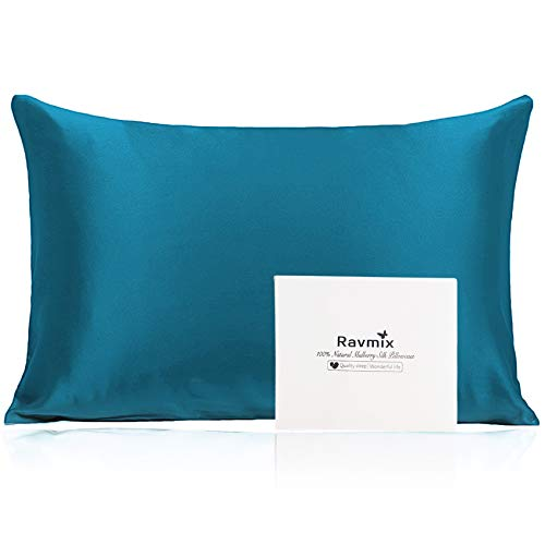 Ravmix Silk Pillowcase for Hair and Skin, 100% 21Momme, with Hidden Zipper, Both Sides Mulberry Silk, 1PCS,...
