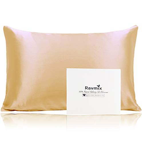 Ravmix 100% Silk Pillowcase for Hair and Skin with Hidden Zipper, Both Sides 21Momme Mulberry Silk, 1PCS, King...