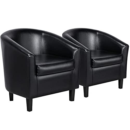 YAHEETECH Accent Chairs Set of 2 Faux Leather Barrel Chair Side Chairs Club Chair for Bedroom Living Reading...