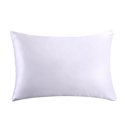 MEILIS Natural Pillowcases,White Pillow Shams for Hair and Skin,100% Silk on Both Sides,Standard/Queen