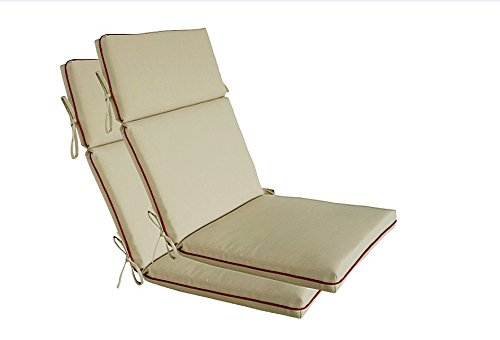 BOSSIMA Indoor Outdoor High Back Chair Cushions Replacement Patio Chair Seat Cushions Set of 2 Light Khaki