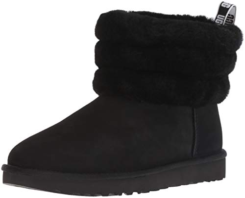 UGG Women's Fluff Mini Quilted Boot, Black, 9