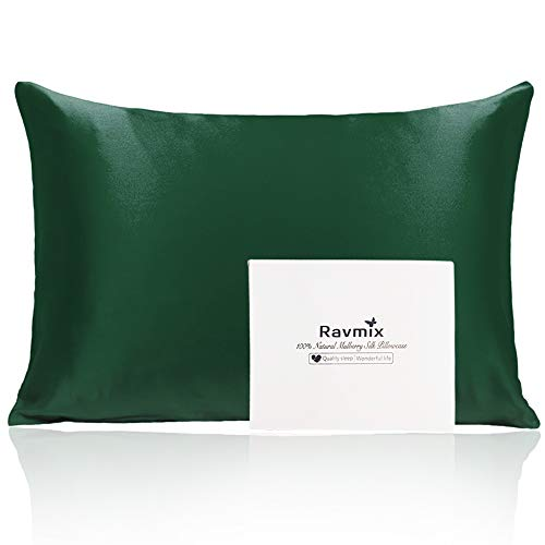 Ravmix 21Momme Silk Pillowcase for Hair and Skin with Hidden Zipper, Both Sides 100% Mulberry Silk, 1PCS, King...