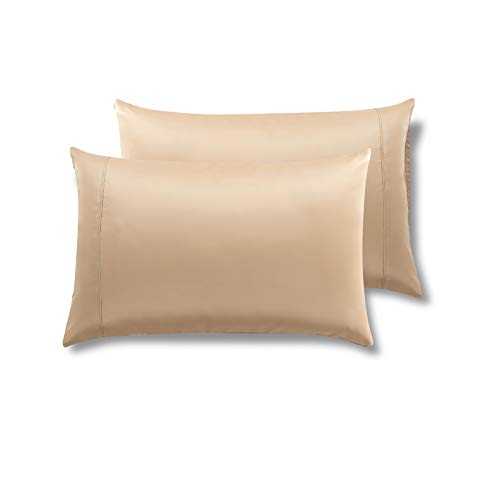 MEILA Silky Satin Pillowcase for Hair and Skin, Ultra-Soft Washed Silk Pillow Cases Queen Size Set of 2, Gold