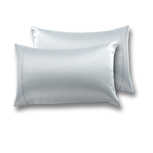 MEILA Silky Satin Pillowcase for Hair and Skin, Ultra-Soft Washed Silk Pillow Cases Queen Size Set of 2, Grey