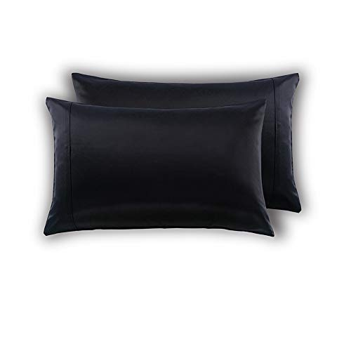 MEILA Silky Satin Pillowcase for Hair and Skin, Ultra-Soft Washed Silk Pillow Cases Queen Size Set of 2, Black