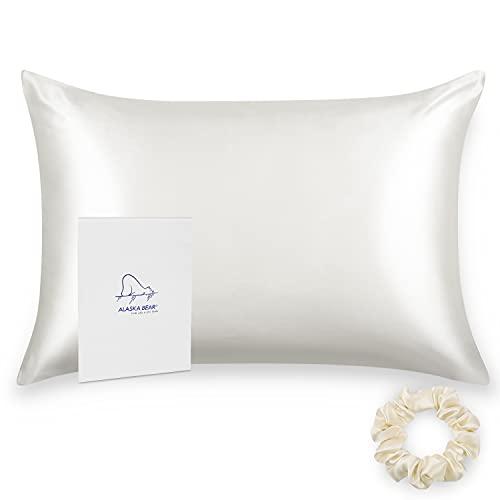 ALASKA BEAR Silk Pillowcase for Hair and Skin Scrunchie Set, Queen (1 Pack, Natural White)