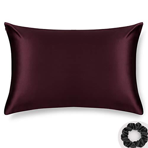 Queen Silk Pillowcase and Silk Scrunchie Gift Set ALASKA BEAR Hypoallergenic Pillow Cases for Acne Prolong...