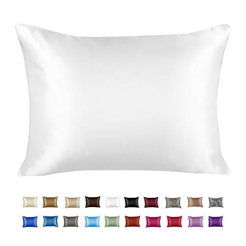 ShopBedding Luxury Satin Pillowcase for Hair – Euro Satin Pillowcase with Zipper, White (1 per Pack) –...