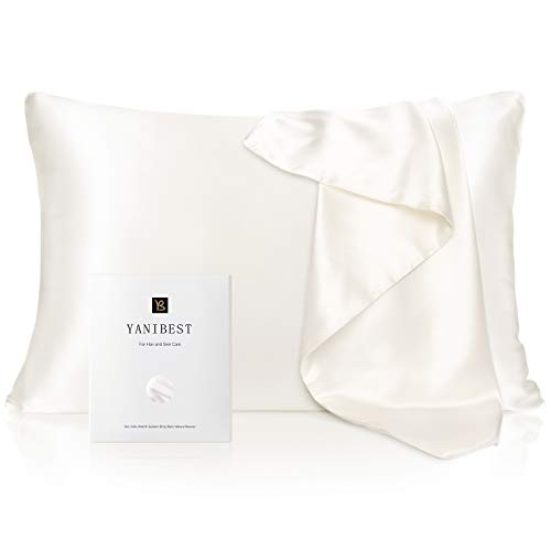 YANIBEST Silk Pillowcase for Hair and Skin - 21 Momme 600 Thread Count 100% Mulberry Silk Bed Pillowcase with...