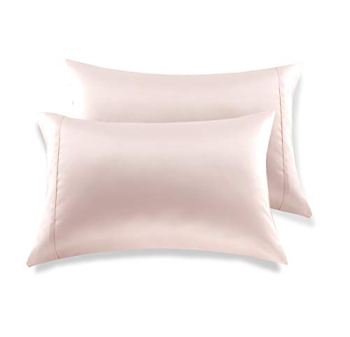 MEILA Silky Satin Pillowcase for Hair and Skin, Ultra-Soft Washed Silk Pillow Cases Queen Size Set of 2, Pink