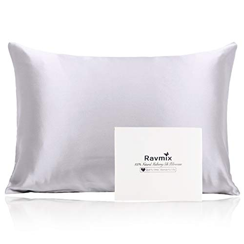 Ravmix Silk Pillowcase for Hair and Skin with Hidden Zipper, Both Sides 21 Momme Natural Real 100% Mulberry...