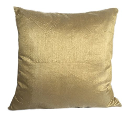 The White Petals Set of 2 Gold Art Silk Pillow Covers, Plain Silk Cushion Cover, Solid Color Gold Throw...