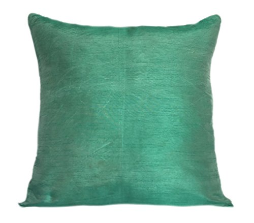 The White Petals Set of 2 Mint Green Art Silk Pillow Covers, Plain Silk Cushion Cover, Solid Color Mint Green...