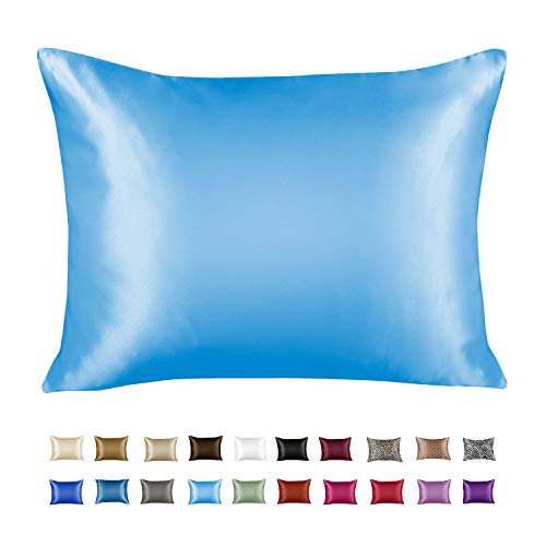 ShopBedding Luxury Satin Pillowcase for Hair – Euro Satin Pillowcase with Zipper, Jewel Blue (1 per Pack)...