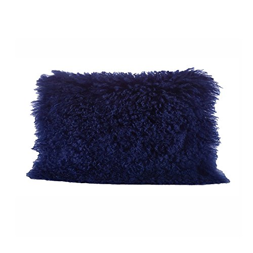 Occasion Gallery Cobalt Blue Color Real Mongolian Lamb Fur Pillow, Filled. 12 Inch X 20 Inch Oblong