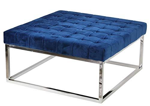 Cortesi Home Caroline Ottoman, 36' Square, Blue Velvet