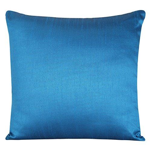 The White Petals Set of 2 Azure Blue Art Silk Pillow Covers, Plain Silk Cushion Cover, Solid Color Azure Blue...