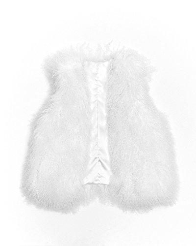 Mongolian Lamb Fur Vest (X-Small, White)