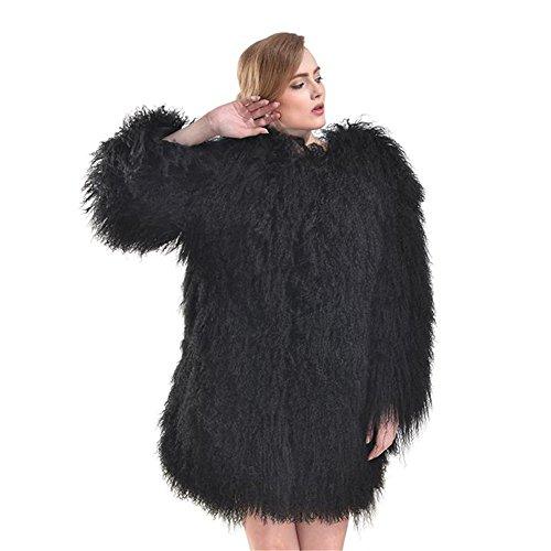 SPRINGWIND Genuine Mongolian Lamb Fur Coat Long Sleeve Waistcoat Jacket Outwear for Women Black