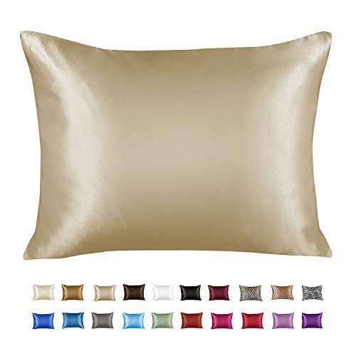 ShopBedding Luxury Satin Pillowcase for Hair – Standard Satin Pillowcase with Zipper, Champagne (1 per Pack)...