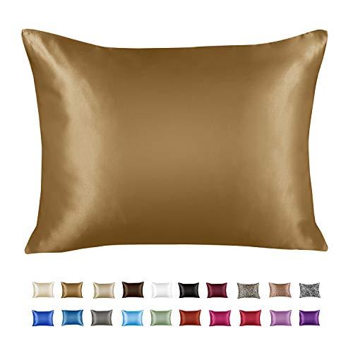 ShopBedding Luxury Satin Pillowcase for Hair – Euro Satin Pillowcase with Zipper, Gold (1 per Pack) –...