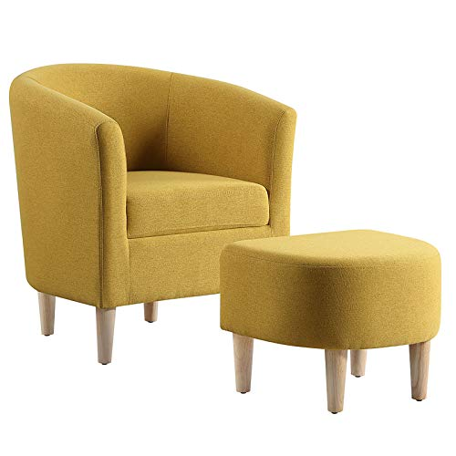 DAZONE Modern Accent Chair, Upholstered Arm Chair Linen Fabric Single Sofa Chair with Ottoman Foot Rest...