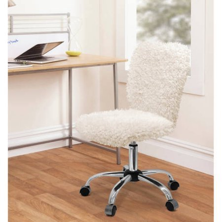 Urban Shop Faux Fur Task Chair, Durable and Comfortable, Perfect for Bedroom or Dorm Room Use. White Mongolian