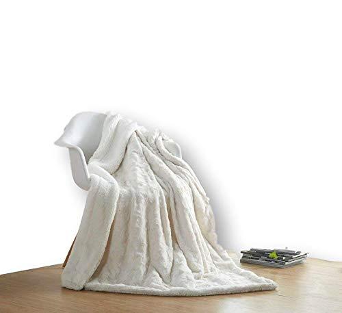 DaDa Bedding Luxury White Roses Faux Fur with Sherpa Backside Fleece Throw Blanket - Super Soft Warm Plush...