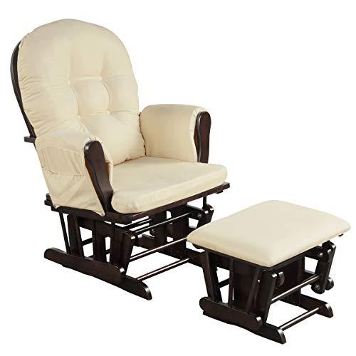 Costzon Baby Glider and Ottoman Cushion Set, Wood Baby Rocker Nursery Furniture, Upholstered Comfort Nursery...