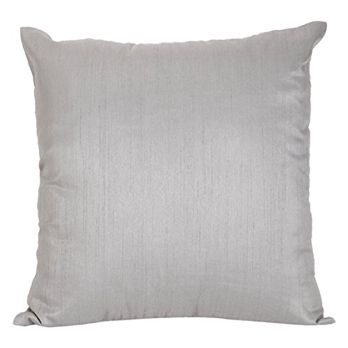 The White Petals Set of 2 Silver Grey Art Silk Pillow Covers, Plain Silk Cushion Cover, Solid Color Silver...