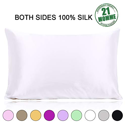 Ravmix 100% Silk Pillowcase for Hair and Skin with Hidden Zipper, Both Sides 21 Momme Mulberry Silk, 1PCS,...