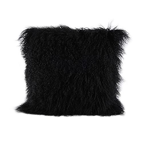 ROSE FEATHER Real 100% Tibetan Mongolian Lamb Sheepskin Wool Fur Super Soft Plush Leather Pillowcase Cushion...