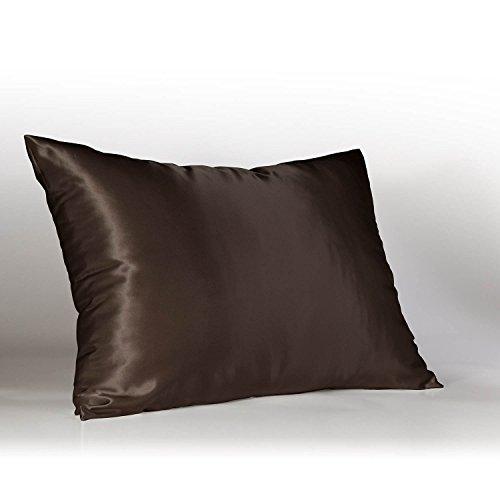 ShopBedding Luxury Satin Pillowcase for Hair – Euro Satin Pillowcase with Zipper, Brown (1 per Pack) –...