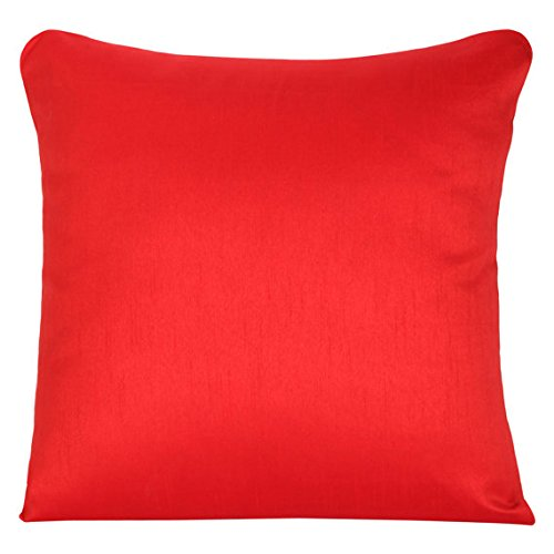 The White Petals Set of 2 Red Art Silk Pillow Covers, Plain Silk Cushion Cover, Solid Color Red Throw Pillow,...