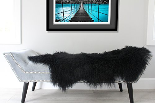 ELuxury Home Genuine Black Mongolian Sheepskin Fur Hide pelt Throw Rug Premium Quality