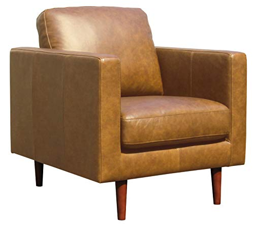 Amazon Brand – Rivet Revolve Modern Leather Armchair with Tapered Legs, 33'W, Caramel