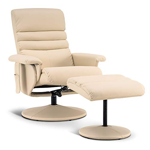 Mcombo Recliner with Ottoman, Reclining Chair with Massage, 360 Swivel Living Room Chair Faux Leather, 7902...