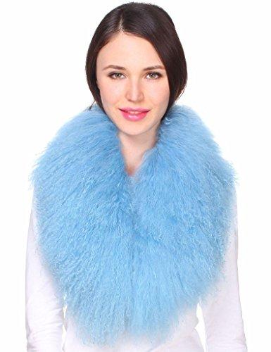 Ferand Ladies Genuine Luxury Mongolian Lambswool Fur Womens Collar Scarf for Outwear Coat,Blue,31.5 inch