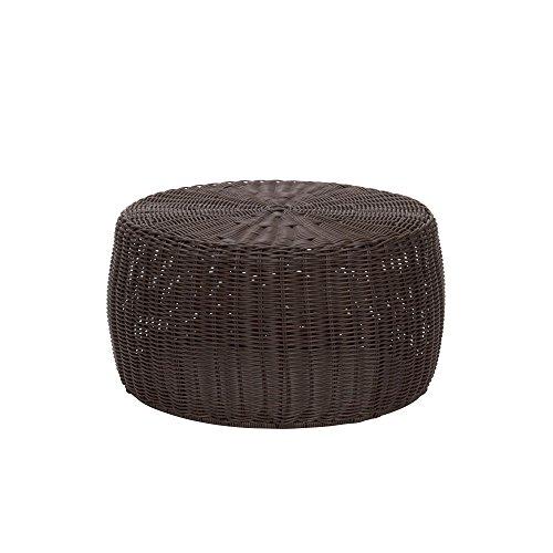 Household Essentials ML-5005 Resin Wicker Footstool Ottoman | Brown