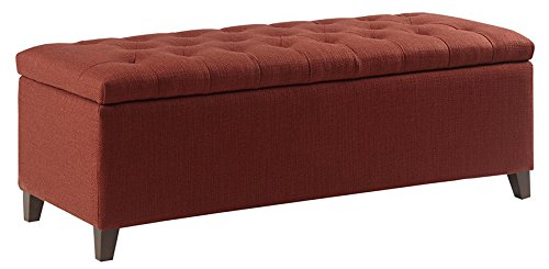 Madison Park Shandra Storage Ottoman - Solid Wood, Polyester Fabric Toy Chest Modern Style Lift-Top Accent...