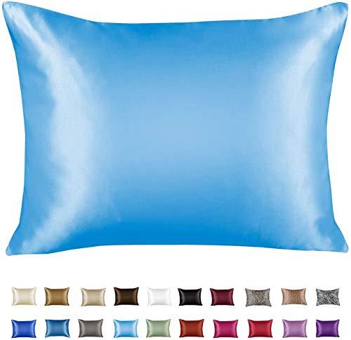 ShopBedding Luxury Satin Pillowcase for Hair – Standard Satin Pillowcase with Zipper, Jewel Blue (Pillowcase...