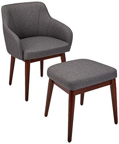 Amazon Basics Modern Curved Back Accent Chair with Ottoman, Charcoal