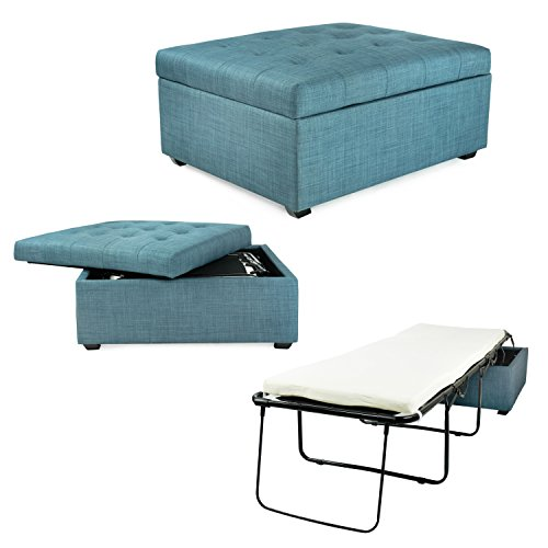 SpaceMaster iBed Convertible Ottoman with Fold Out Hideaway Guest Bed, Blue