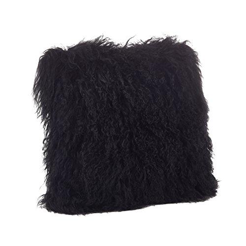 SARO LIFESTYLE 100% Wool Mongolian Lamb Fur Throw Pillow with Poly Filling, 20', Black