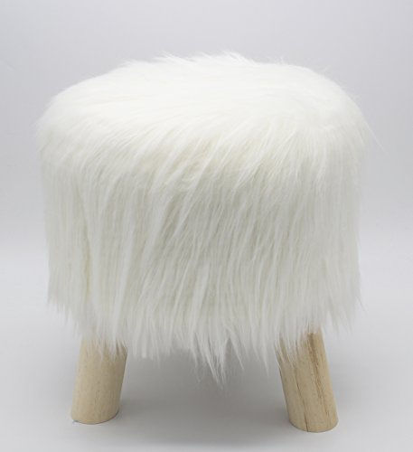 Fennco Styles Mongolian Long Hair Faux Fur Stool (Ivory)