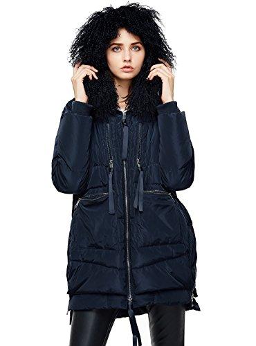 ANNA&CHRIS Womens Down Jacket with Fur Trim Hood Warm Parka Thicken Coat,Dark Blue,Small